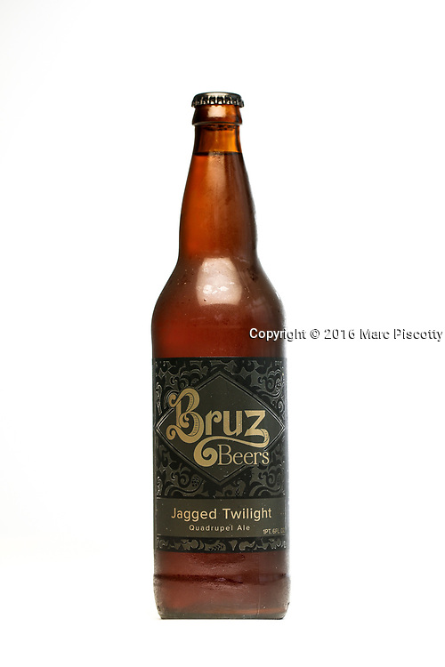 SHOT 7/22/16 2:51:39 PM - Bruz Beers is Denver's artisanal Belgian-style brewery, featuring a full line of traditional and Belgian-inspired brews, hand-crafted in small batches. A bottle of the Jagged Twilight Quadrupel Ale. (Photo by Marc Piscotty / © 2016)