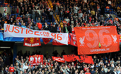 Liverpool fans remember those who died at Hillsbrough during the UEFA Champions League Quarter Final Second Leg match between Chelsea and Liverpool at Stamford Bridge on April 14, 2009 in London, England.between Chelsea and Liverpool at Stamford Bridge on April 14, 2009 in London, England.