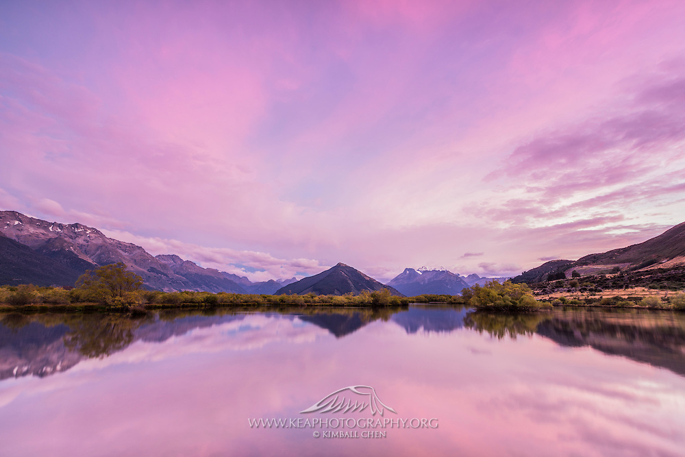 Pink dawn over Mt Alfred and Mt Earnslaw, at Glenorchy, Mount Aspiring National Park