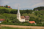 A rural church in agricultural land of Slovenian farms and homes in the Kozjansko Regional Park, on 24th June 2018, in Doblezica, Slovenia.