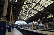 General overall view of the Liverpool Street Station in the ward of Bishopsgate in London, United Kingdom, Saturday, July 14, 2018. The underground, overground railway stations serves  as the terminus of the West Anglia Main Line to Cambridge, the  Great Eastern Main Line to Norwich, local and regional commuter trains serving east London and destinations in the East of England, and the Stansted Express service to Stansted Airport.