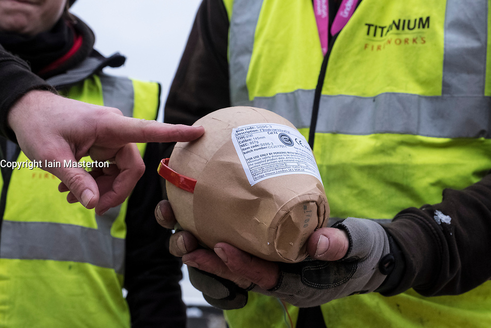 Edinburgh, Scotland, United Kingdom. 29 December, 2017. Pyrotechnicians from Titanium Fireworks demonstrate large fireworks and launching tubes at Edinburgh Castle ahead of the annual Hogmanay fireworks display on New Years Eve. Here a 150mm shell is shown. This is the largest shell used in the display.