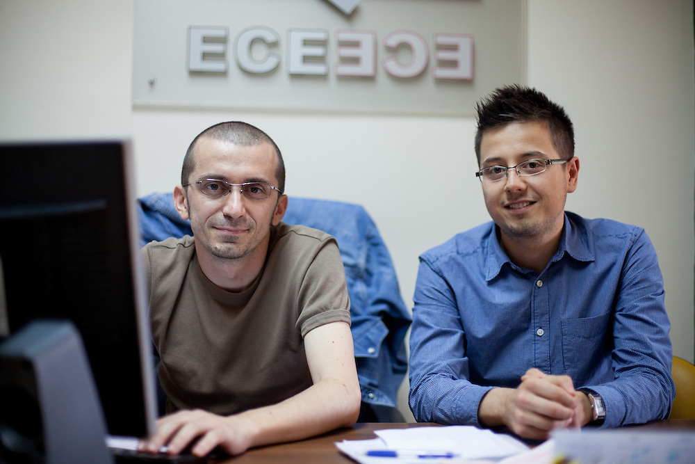 Portrait of Darko Antik and Jane Veleski at the ESE office in Skopje, Macedonia.