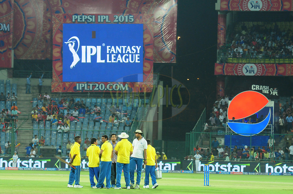 Electronic screen during match 21 of the Pepsi IPL 2015 (Indian Premier League) between The Delhi Daredevils and The Mumbai Indians held at the Ferozeshah Kotla stadium in Delhi, India on the 23rd April 2015.<br /> <br /> Photo by:  Arjun Panwar / SPORTZPICS / IPL