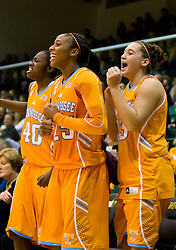 December 22, 2009; San Francisco, CA, USA;  Tennessee Lady Volunteers guard/forward Shekinna Stricklen (40) and forward Glory Johnson (25) and guard Taber Spani (13) celebrate from the bench during the second half against the San Francisco Dons at War Memorial Gym.  Tennessee defeated San Francisco 89-34.