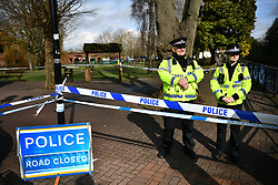 © Licensed to London News Pictures. 06/03/2018. Salisbury, UK. The scene near the Maltings shopping centre in Salisbury former Russian spy Sergei Skripal and a woman in her 30s were taken ill with suspected poisoning. The couple where found unconscious on bench in Salisbury shopping centre. Specialist units have been called in to deal with any possible contamination. Photo credit: Ben Cawthra/LNP