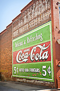 Historic courthouse square and Coca-Cola sign in Laurens, South Carolina.