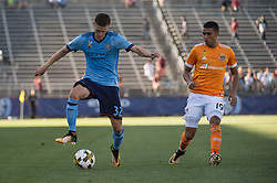 September 23, 2017 - East Hartford, Connecticut, U.S - New York City FC defender AUDRA STRUANA (32) controls the ball against Houston Dynamo forward MAURO MANOTAS (19) during a game at Pratt & Whitney Stadium at Rentschler Field, East Hartford, CT.  New York City FC draw with the Houston Dynamo 1 to 1 (Credit Image: © Mark Smith via ZUMA Wire)