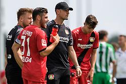 08.07.2017, NLZ Kurtekotten, Leverkusen, GER, Testspiel, Bayer 04 Leverkusen vs VfB Speldorf, im Bild Kevin Volland (Bayer 04 Leverkusen #31), Trainer Heiko Herrlich (Bayer 04 Leverkusen) und Kai Havertz (Bayer 04 Leverkusen #29) // during friendly Footbal Match, between Bayer 04 Leverkusen and VfB Speldorf at the NLZ Kurtekotten in Leverkusen, Germany on 2017/07/08. EXPA Pictures © 2017, PhotoCredit: EXPA/ Eibner-Pressefoto/ Schüler<br /> <br /> *****ATTENTION - OUT of GER*****