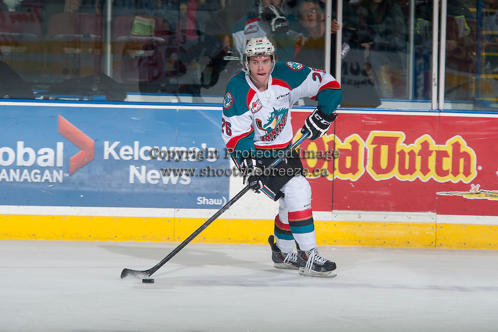 KELOWNA, CANADA - JANUARY 23: Cole Linaker #26 of Kelowna Rockets skates with the puck against the Everett Silvertips in Kelowna, British Columbia, Canada.  (Photo by Marissa Baecker/Shoot the Breeze)  *** Local Caption *** Cole Linaker;