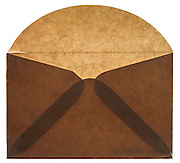 back side of an old style brown paper envelope