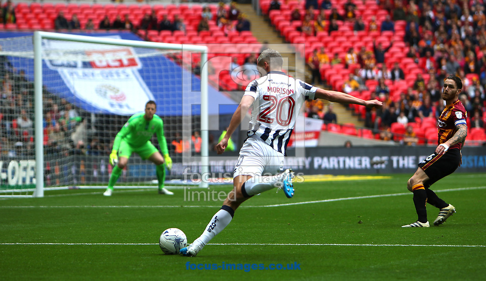 Millwall forward Steve Morison attacking the Bradford goal during the Sky Bet League 1 play-off final at Wembley Stadium, London<br /> Picture by Glenn Sparkes/Focus Images Ltd 07939664067<br /> 20/05/2017