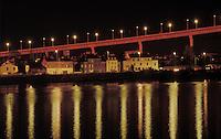 Night shot of the Cheviré bridge over the Loire in Nantes, France. 1992. Architecte: Philippe Fraleu<br /> Le pont de Cheviré qui enjambe la Loire, Nantes photographié de nuit.