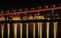 Night shot of the Chevir&eacute; bridge over the Loire in Nantes, France. 1992. Architecte: Philippe Fraleu<br />