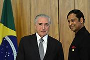 25.04.2018 - BRASÍLIA, DF -  O presidente da República, Michel Temer, recebe o embaixador da Índia, senhor Andreas Semadeni, na quarta-feira (25), em cerimônia de apresentação de cartas credenciais no Palácio do Planalto, em Brasilia, DF.Embaixadores no Brasil ( Foto: RENATO COSTA / FRAMEPHOTO )