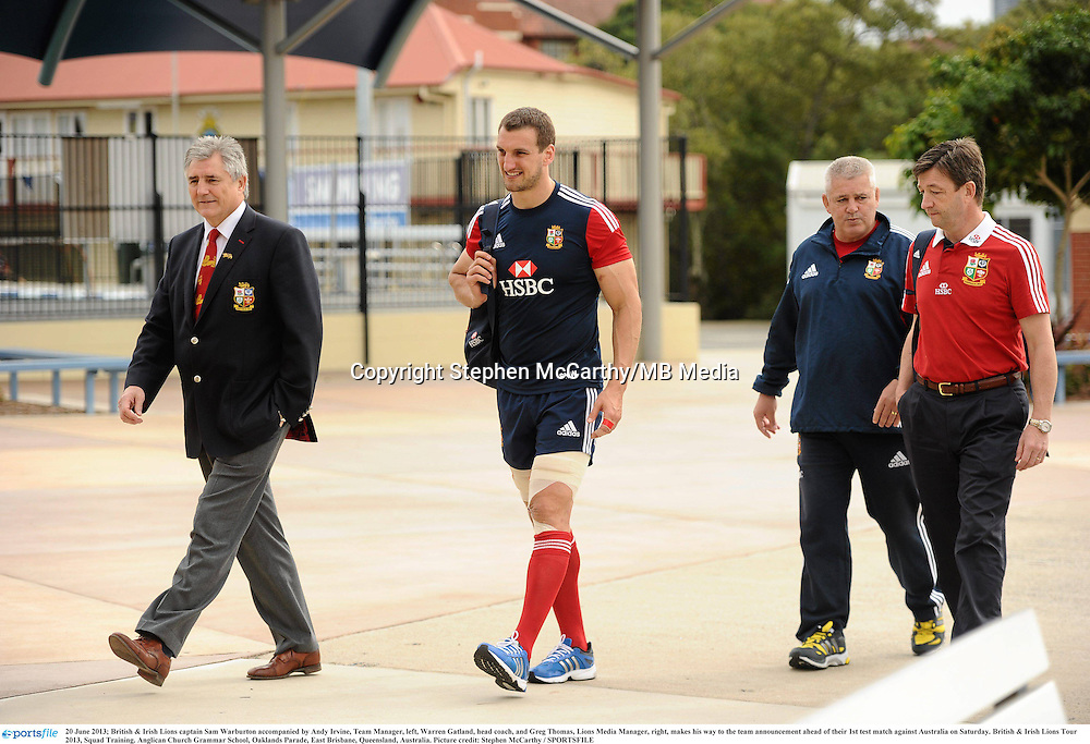 20 June 2013; British & Irish Lions captain Sam Warburton accompanied by Andy Irvine, Team Manager, left, Warren Gatland, head coach, and Greg Thomas, Lions Media Manager, right, makes his way to the team announcement ahead of their 1st test match against Australia on Saturday. British & Irish Lions Tour 2013, Squad Training. Anglican Church Grammar School, Oaklands Parade, East Brisbane, Queensland, Australia. Picture credit: Stephen McCarthy / SPORTSFILE