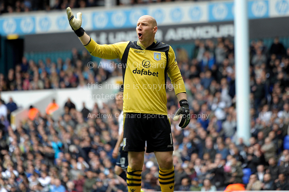 Aston Villa goalkeeper Brad Guzan gestures. Barclays premier league match ,Tottenham Hotspur v Aston Villa at White Hart Lane in Tottenham, London  on Sunday 11th May 2014.<br /> pic by John Patrick Fletcher, Andrew Orchard sports photography.