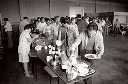 Miners strike 1984, Miners' wives preparing food for striking miners; Blyth Miners Welfare Hall; Northumberland; NE England
