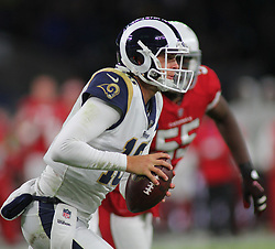LONDON, ENGLAND - OCTOBER 22: Los Angeles Rams quarterback Jared Goff (16) during the NFL match between the Arizona Cardinals and the Los Angeles Rams at Twickenham Stadium on October 22, 2017 in London, United Kingdom. (Photo by Mitchell Gunn/ESPA-Images) *** Local Caption ***