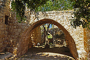 The remains of the 12th century Crusader fortress of Yehiam (Gidin or Jiddin). Arched passage Western Galilee, Israel