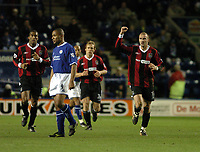 LEICESTER CITY/MANCHESTER CITY FA CUP 3RD ROUND REPLAY 14/01/04 PHOTO TIM PARKER FOTOSPORTS INTL<br /> ANTOINE SIBIERSKI CELEBRATES MANCHESTER CITY'S 1ST GOAL