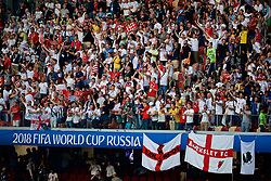 """MOSCOW, RUSSIA - Wednesday, July 11, 2018: England supporters sing """"Football's Coming Home"""" before the FIFA World Cup Russia 2018 Semi-Final match between Croatia and England at the Luzhniki Stadium. (Pic by David Rawcliffe/Propaganda)"""