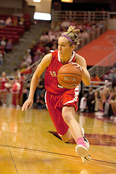 12 February 2012:  Kelsey Budd during an NCAA women's basketball game Where the Bradley Braves lost to the Illinois Sate Redbirds 82-63.  It was Play 4Kay day in honor of the cancer research fund set up by Coach Kay Yow at Redbird Arena in Normal IL