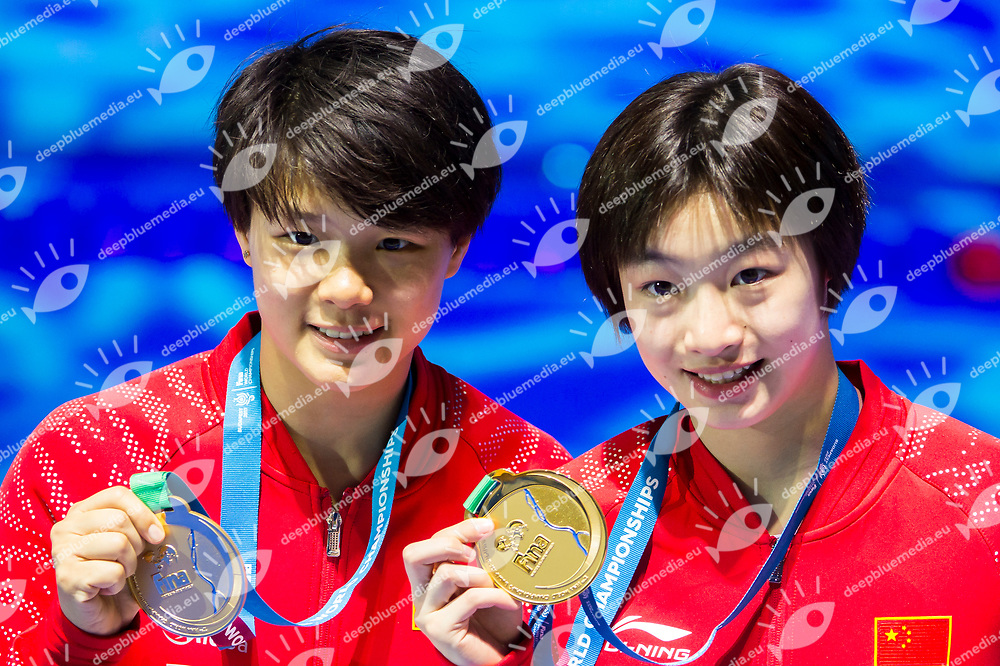 CHN CHANG Yani SHI Tingmao gold medal<br /> Diving<br /> Women's 3m synchronised springboard final<br /> 17/07/2017 <br /> XVII FINA World Championships Aquatics<br /> Duna Arena<br /> Photo @ Giorgio Perottino/Deepbluemedia/Insidefoto