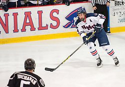 March 11 2016: Robert Morris Colonials forward Brandon Denham (44) skates with the puck during the first period in game one of the Atlantic Hockey quarterfinals series between the Bentley Falcons and the Robert Morris Colonials at the 84 Lumber Arena in Neville Island, Pennsylvania (Photo by Justin Berl)
