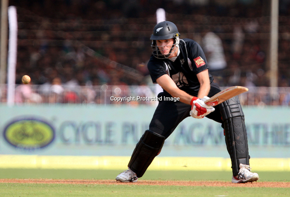 New Zealand batsman Kyle Mills plays a shot against India during the 3rd ODI India vs New Zealand Played at Reliance Stadium, Vadodara<br /> 4 December 2010 (50-over match)