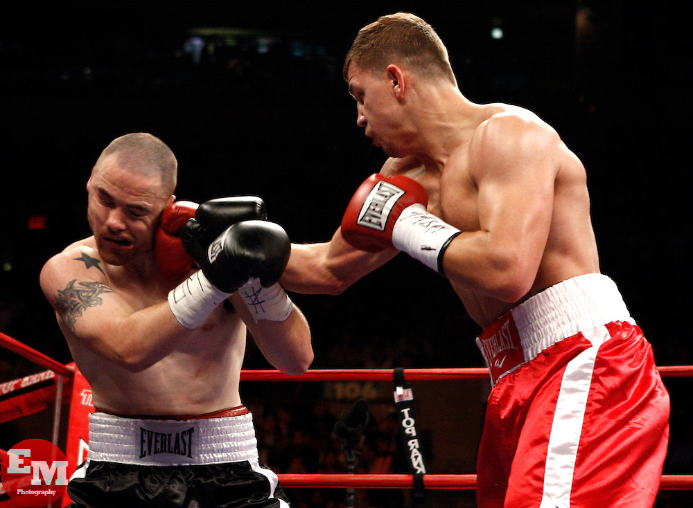 June 13, 2009; New York, NY, USA;  Matt Korobov (red) wins a unanimous 4 round decision over Loren Myers at Madison Square Garden.  Mandatory Credit: Ed Mulholland