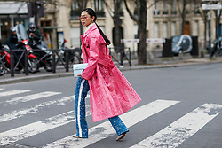Street style, Holly Pan arriving at Haider Ackermann Fall-Winter 2018-2019 show held at Palais de Chaillot, in Paris, France, on March 3rd, 2018. Photo by Marie-Paola Bertrand-Hillion/ABACAPRESS.COM