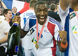 Luc Abalo (19) of France celebrates after the 21st Men's World Handball Championship 2009 Gold medal match between National teams of France and Croatia, on February 1, 2009, in Arena Zagreb, Zagreb, Croatia. France won 24:19 and became World Champion 2009.  (Photo by Vid Ponikvar / Sportida)