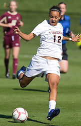 Virginia Cavaliers forward Jess Rostedt (12) shoots against BC.  The #9 ranked Virginia Cavaliers defeated the #13 ranked Boston College Eagles 2-1 in NCAA women's soccer at Klockner Stadium on the Grounds of the University of Virginia in Charlottesville, VA on October 19, 2008.