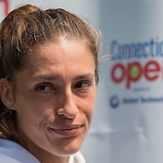 August 16, 2014, New Haven, CT:<br /> Andrea Petkovic is interviewed during WTA All-Access Hour on day three of the 2014 Connecticut Open at the Yale University Tennis Center in New Haven, Connecticut Sunday, August 17, 2014.<br /> (Photo by Billie Weiss/Connecticut Open)