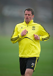 LIVERPOOL, ENGLAND, Wednesday, March 16, 2011: Liverpool's Jamie Carragher during a training session at the club's Melwood Training Ground ahead of the UEFA Europa League Round of 16 2nd leg match against Sporting Clube de Braga. (Photo by David Rawcliffe/Propaganda)