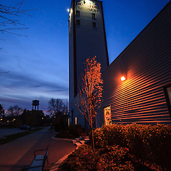 Photo of Frankfort Grainery at night in Frankfort Illinois.  The Frankfort Grainery is a grain elevator and historic landmark in Frankfort Illinois a Southwestern suburb of Chicago. The photo is vertical, high resolution and was taken in 2009.