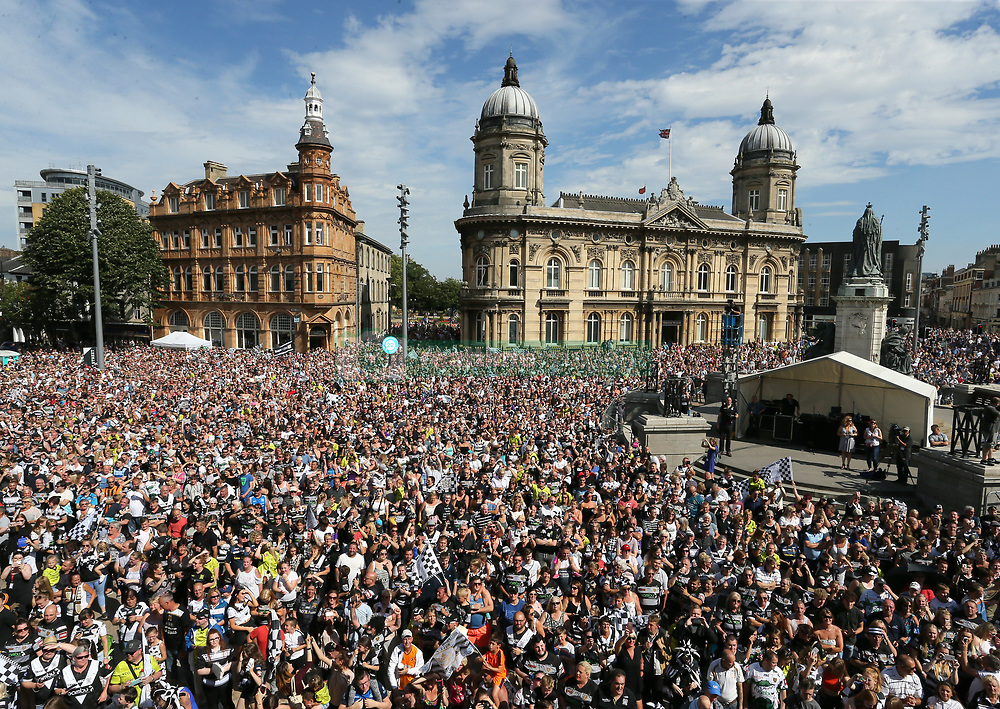 Hull FC fans line the streets during Hull FC's Challenge Cup Win homecoming parade through Hull.