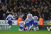 Reading players and fans celebrate after scoring during the Capital One Cup match between Reading and Everton at the Madejski Stadium, Reading, England on 22 September 2015. Photo by Mark Davies.