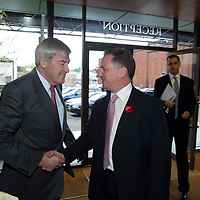 FREE TO USE PIC....<br />First Minister Jack McConnell who officially opened the new £3m bottling line at The Edrington Groups HQ in Glasgow..He is pictured being greeted as he arrives by Edrington Group Chairman Ian Good.<br />See press release from Edrington Group: Contact Sharon McLaughlin on 07879 694962<br />Copyright Perthshire Picture Agency<br />Tel: 01738 623350  Mobile: 07990 594431
