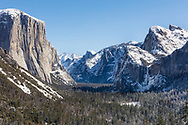 Snow covers the floor of Yosemite Valley after a winter storm.