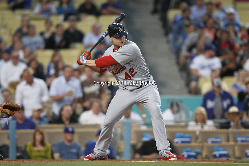 LOS ANGELES, CA - APRIL 15:  Matt Holliday #7 of the St. Louis Cardinals bats during the game between the St. Louis Cardinals and the Los Angeles Dodgers on Friday April 15, 2011 at Dodger Stadium in Los Angeles, California. (Photo by Paul Spinelli/MLB Photos via Getty Images) *** Local Caption *** Matt Holliday