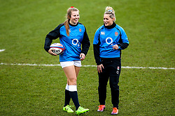 Natasha Hunt and Zoe Harrison of England Women - Mandatory by-line: Robbie Stephenson/JMP - 10/02/2019 - RUGBY - Castle Park - Doncaster, England - England Women v France Women - Women's Six Nations