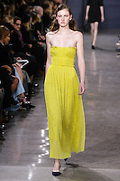 Emma Harris walks the runway wearing Jason Wu Fall 2016, Hair by Paul Hanlon for Morocconoil, Makeup by Yadim for Maybelline, shot by Thomas Concordia during New York Fashion Week on February 12, 2016