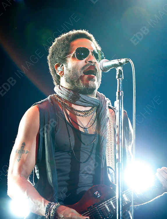 30.JUNE.2012. MADRID<br /> <br /> LENNY KRAVITZ PERFORMS ON STAGE DURING ROCK IN RIO MADRID IN AGANDA DEL RAY.<br /> <br /> BYLINE: EDBIMAGEARCHIVE.CO.UK<br /> <br /> *THIS IMAGE IS STRICTLY FOR UK NEWSPAPERS AND MAGAZINES ONLY*<br /> *FOR WORLD WIDE SALES AND WEB USE PLEASE CONTACT EDBIMAGEARCHIVE - 0208 954 5968*