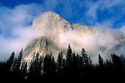 Wispy clouds around El Capitan, Yosemite Valley, Yosemite National Park, California USA