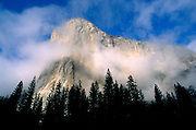 Wispy clouds around El Capitan, Yosemite Valley, Yosemite National Park, California USA