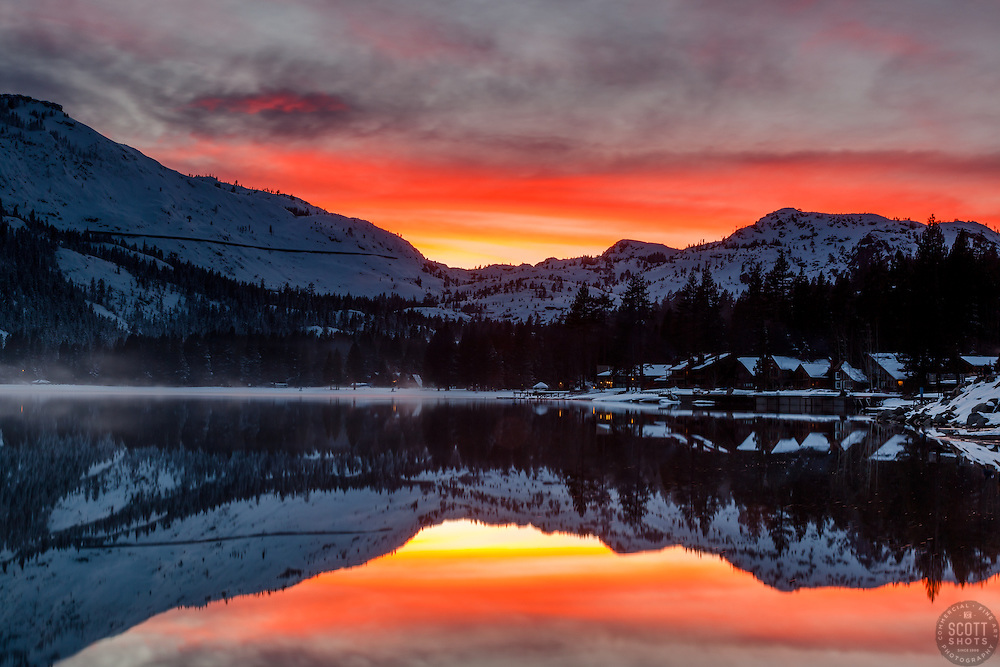 """Donner Lake Sunset 28"" - Photograph of Donner Summit and the West end of Donner Lake at Sunset."