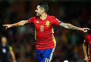 "GRANADA, SPAIN - NOVEMBER 12:  Victor Machin Perez ""Vitolo"" of Spain celebrates after scoring during the FIFA 2018 World Cup Qualifier between Spain and FYR Macedonia at  on November 12, 2016 in Granada, .  (Photo by Aitor Alcalde Colomer/Getty Images)"