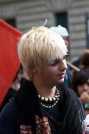Roma 15 Ottobre 2010.Manifestazione dei studenti delle scuole medie superiori per protestare contro la riforma Gelmini..Rome 15 October 2010.Demonstration of high school students to protest against the reform Gelmini..